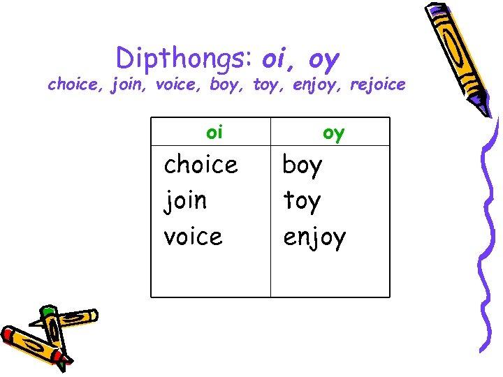 Dipthongs: oi, oy choice, join, voice, boy, toy, enjoy, rejoice oi choice join voice