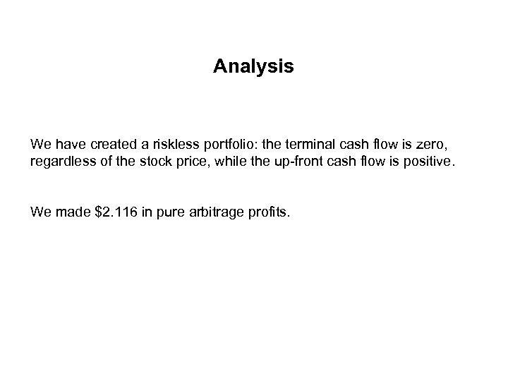 Analysis We have created a riskless portfolio: the terminal cash flow is zero, regardless