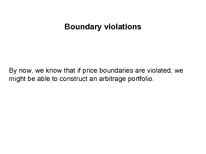 Boundary violations By now, we know that if price boundaries are violated, we might