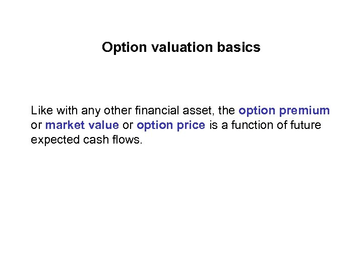 Option valuation basics Like with any other financial asset, the option premium or market