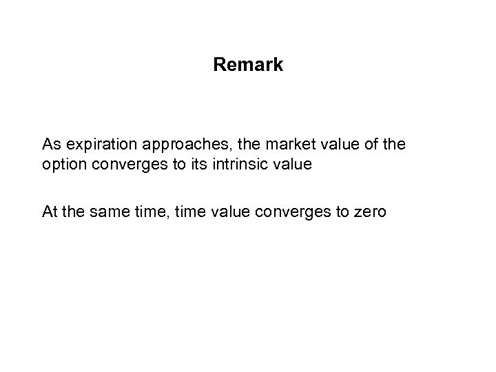 Remark As expiration approaches, the market value of the option converges to its intrinsic