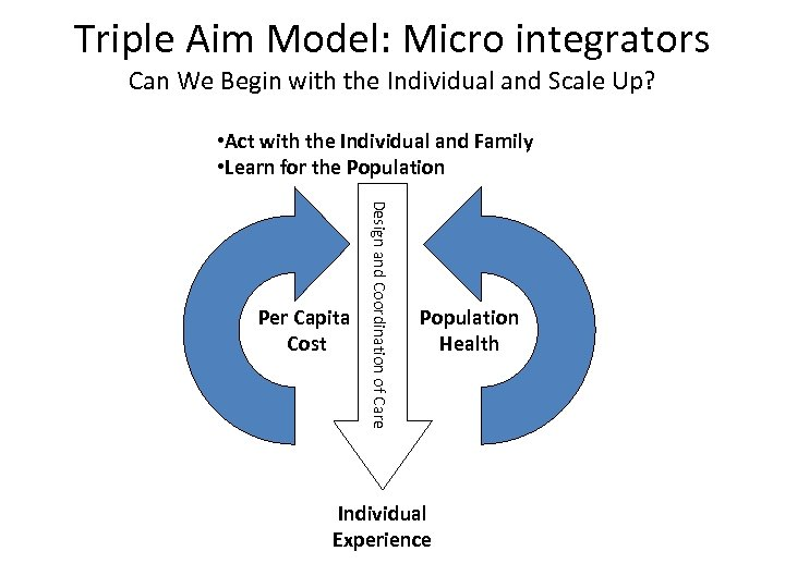 Triple Aim Model: Micro integrators Can We Begin with the Individual and Scale Up?