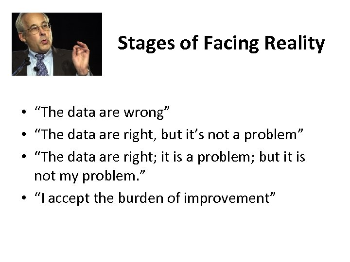 """Stages of Facing Reality • """"The data are wrong"""" • """"The data are right,"""