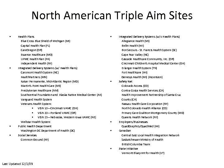North American Triple Aim Sites • • Health Plans Blue Cross Blue Shield of