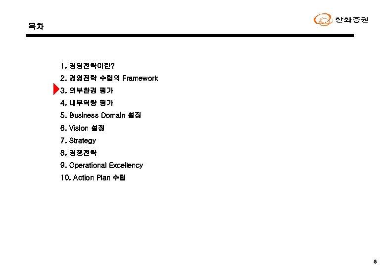 목차 1. 경영전략이란? 2. 경영전략 수립의 Framework 3. 외부환경 평가 4. 내부역량 평가 5.