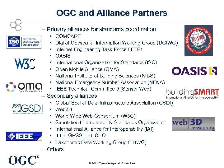 OGC and Alliance Partners – Primary alliances for standards coordination • • • COMCARE