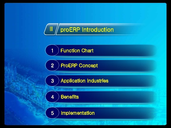 II pro. ERP Introduction 1 Function Chart 2 Pro. ERP Concept 3 Application Industries