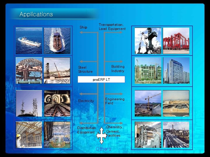 Applications Transportation, Load Equipment Ship Building Industry Steel Structure pro. ERP LT Electricity Engineering