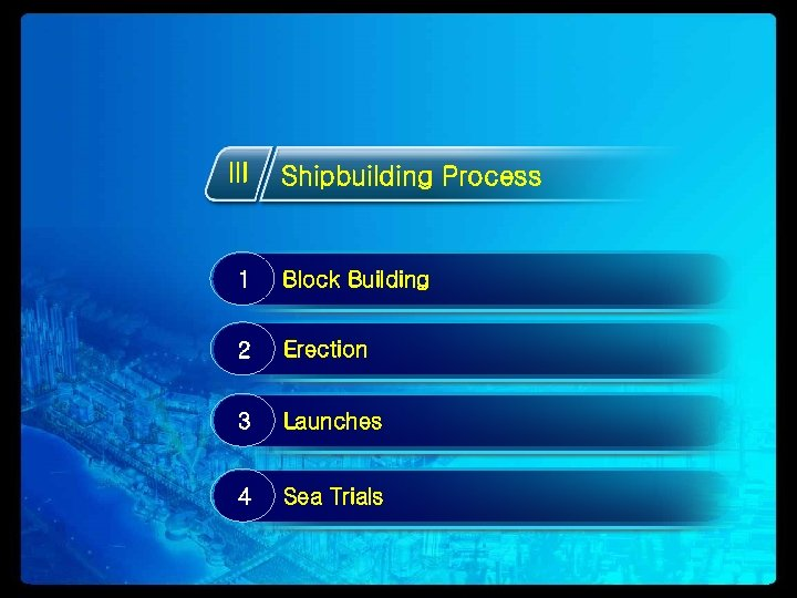 III Shipbuilding Process 1 Block Building 2 Erection 3 Launches 4 Sea Trials