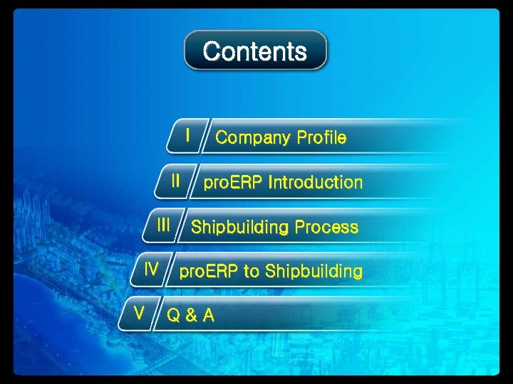 Contents I II IV V Company Profile pro. ERP Introduction Shipbuilding Process pro. ERP