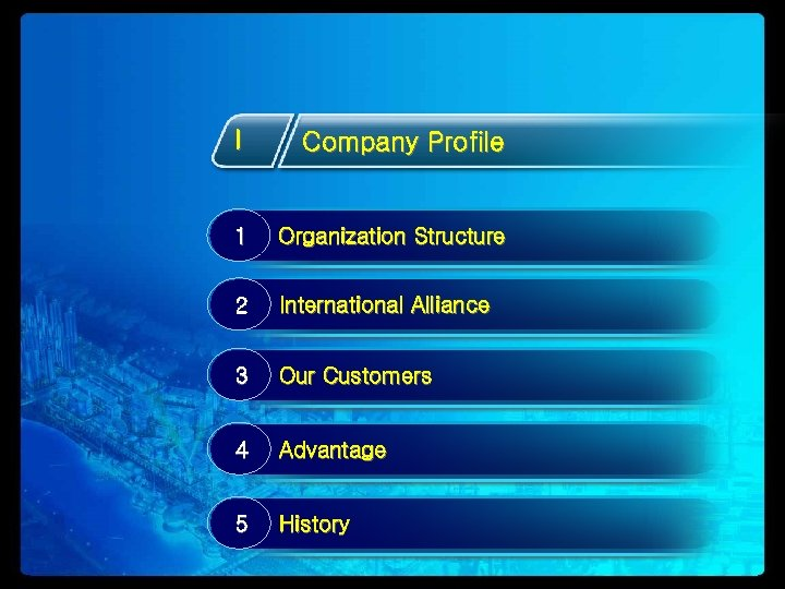 I Company Profile 1 Organization Structure 2 International Alliance 3 Our Customers 4 Advantage