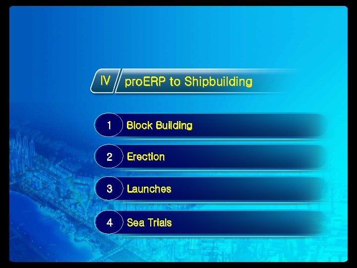 IV pro. ERP to Shipbuilding 1 Block Building 2 Erection 3 Launches 4 Sea