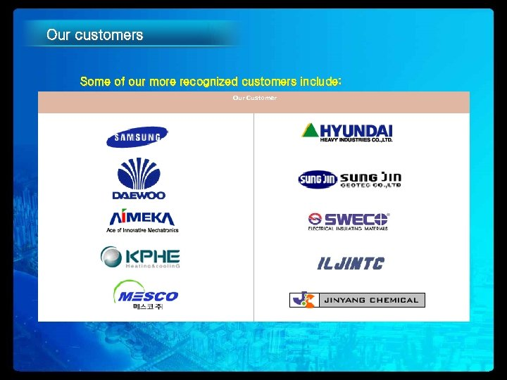 Our customers Some of our more recognized customers include: Our Customer