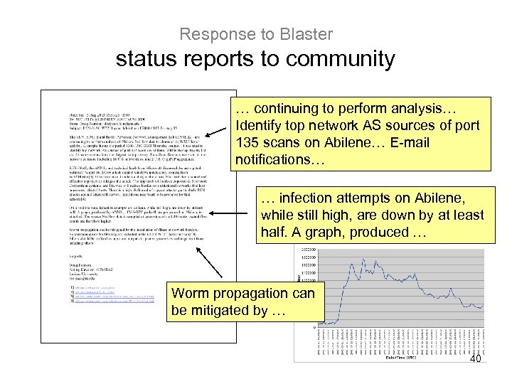 Response to Blaster status reports to community … continuing to perform analysis… Identify top