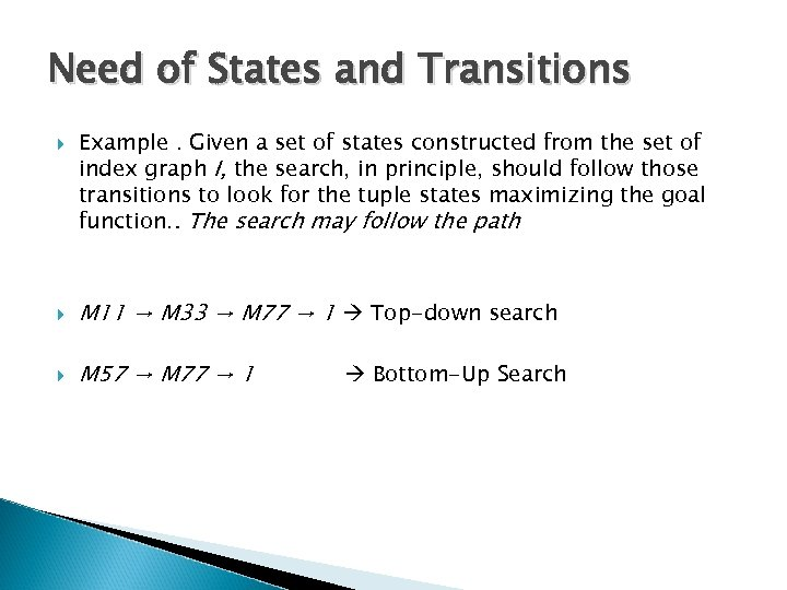 Need of States and Transitions Example. Given a set of states constructed from the