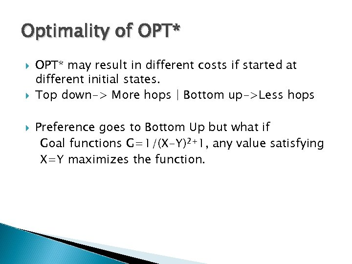 Optimality of OPT* may result in different costs if started at different initial states.