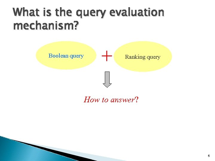 What is the query evaluation mechanism? Boolean query + Ranking query How to answer?