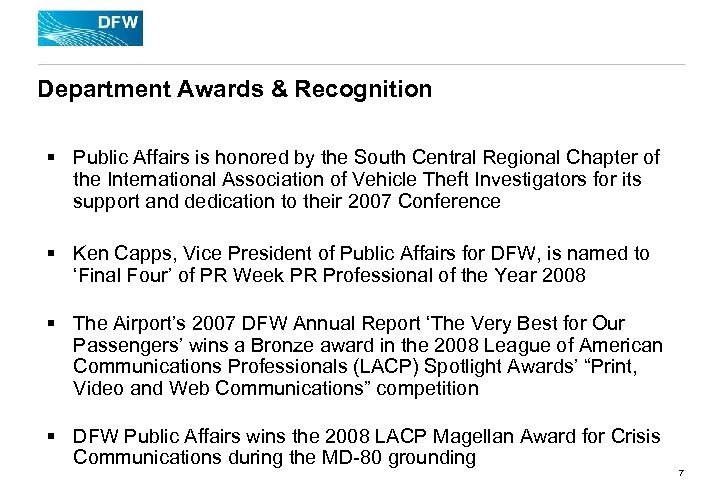 Department Awards & Recognition § Public Affairs is honored by the South Central Regional