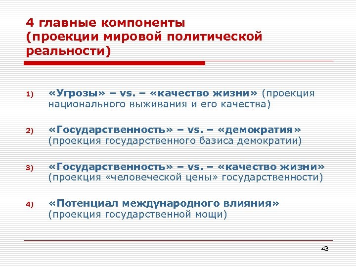 4 главные компоненты (проекции мировой политической реальности) 1) «Угрозы» – vs. – «качество жизни»