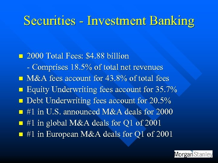 Securities - Investment Banking n n n n 2000 Total Fees: $4. 88 billion