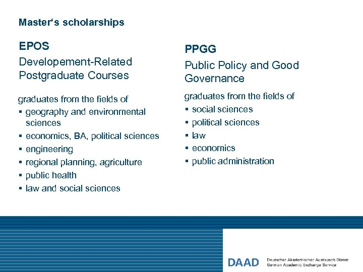 Master's scholarships EPOS Developement-Related Postgraduate Courses PPGG Public Policy and Good Governance graduates from