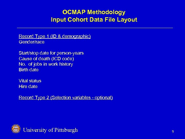 OCMAP Methodology Input Cohort Data File Layout Record Type 1 (ID & demographic) Gender/race