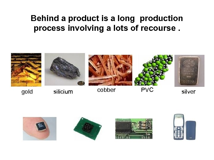 Behind a product is a long production process involving a lots of recourse. gold