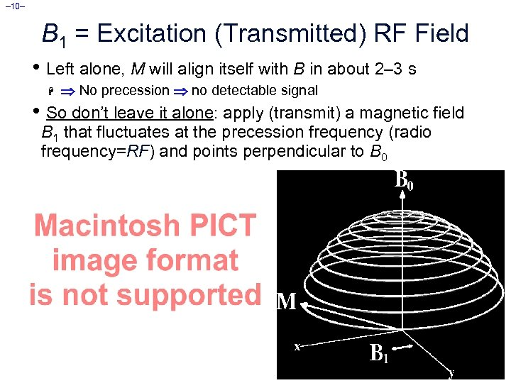 – 10– B 1 = Excitation (Transmitted) RF Field • Left alone, M will