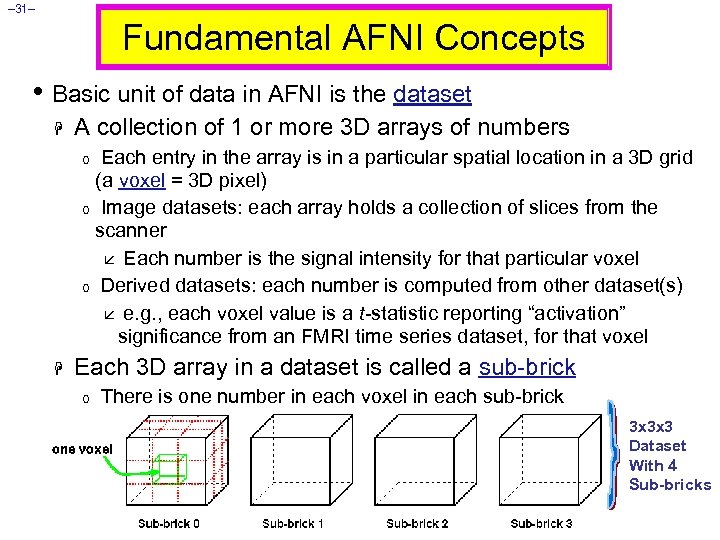 – 31– Fundamental AFNI Concepts • Basic unit of data in AFNI is the