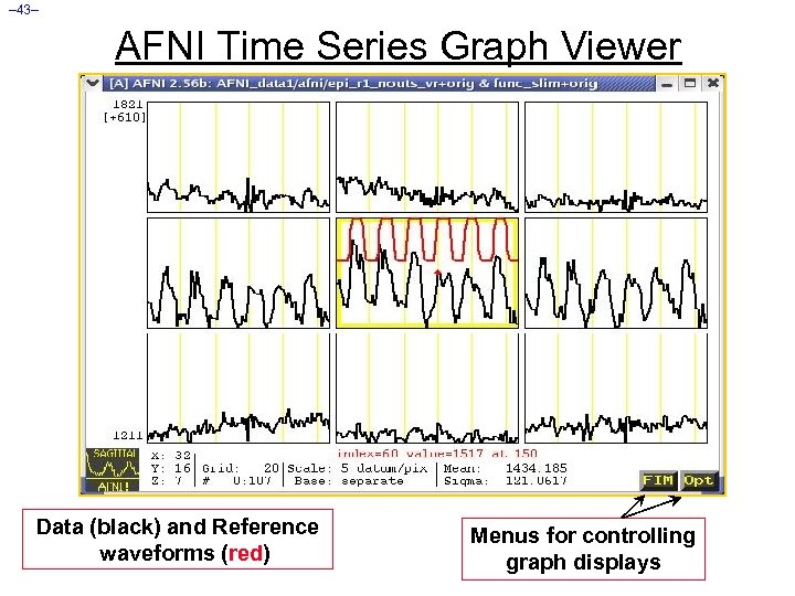 – 43– AFNI Time Series Graph Viewer Data (black) and Reference waveforms (red) Menus