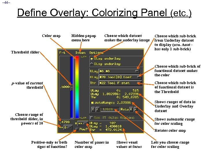 – 44– Define Overlay: Colorizing Panel (etc. ) Color map Hidden popup menu here