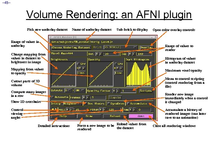 – 45– Volume Rendering: an AFNI plugin Pick new underlay dataset Name of underlay