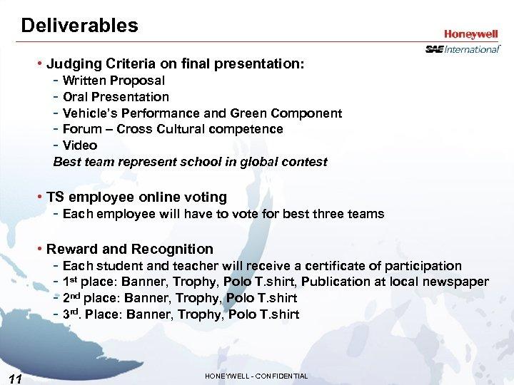Deliverables • Judging Criteria on final presentation: - Written Proposal - Oral Presentation -