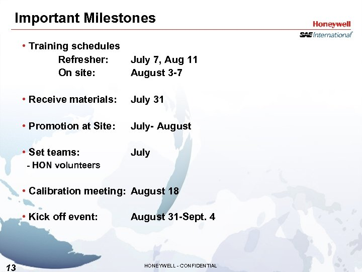 Important Milestones • Training schedules Refresher: July 7, Aug 11 On site: August 3