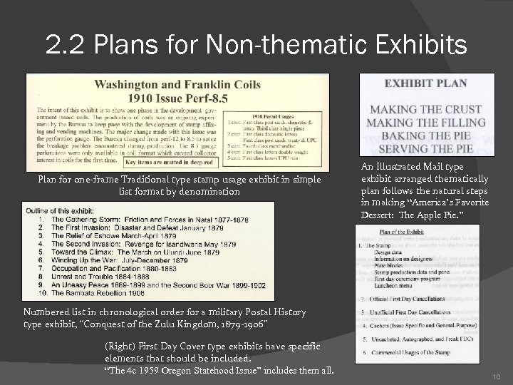 2. 2 Plans for Non-thematic Exhibits Plan for one-frame Traditional type stamp usage exhibit