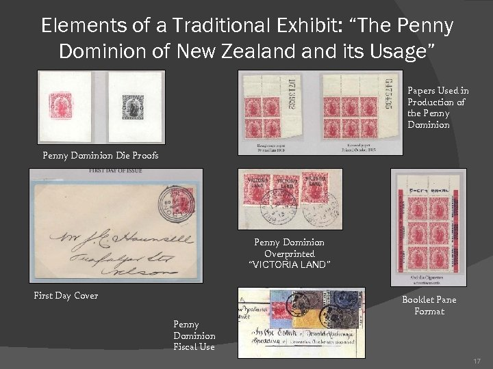 """Elements of a Traditional Exhibit: """"The Penny Dominion of New Zealand its Usage"""" Papers"""