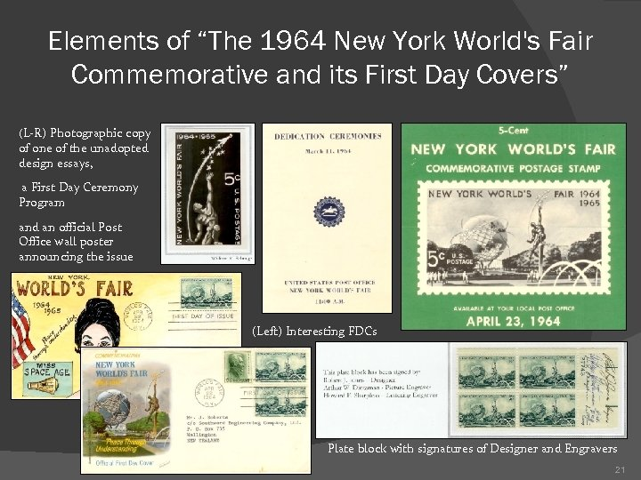 """Elements of """"The 1964 New York World's Fair Commemorative and its First Day Covers"""""""