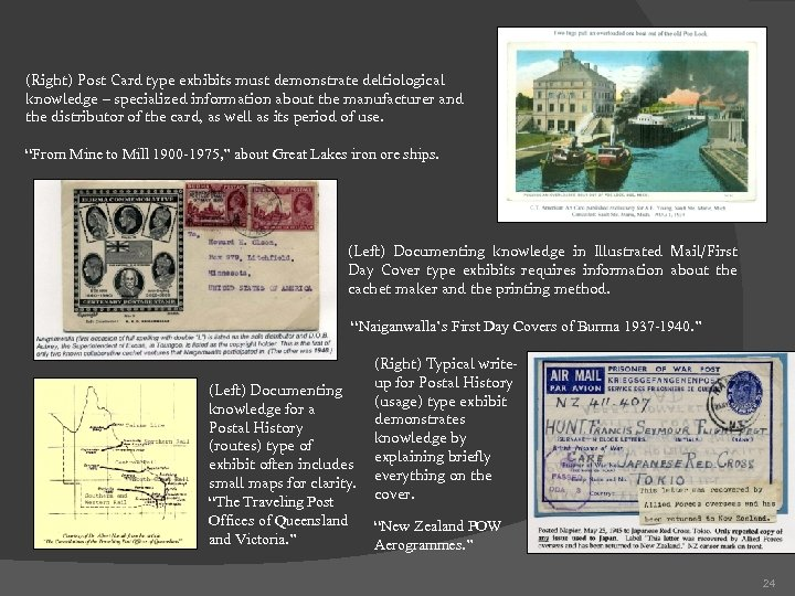 (Right) Post Card type exhibits must demonstrate deltiological knowledge – specialized information about the