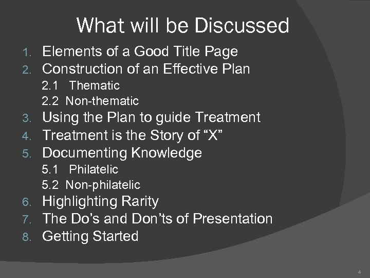What will be Discussed 1. 2. Elements of a Good Title Page Construction of