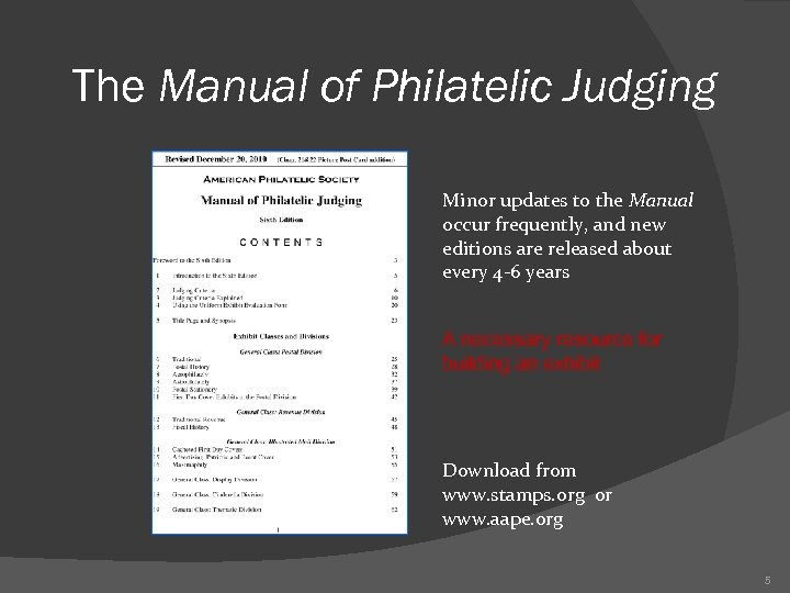 The Manual of Philatelic Judging Minor updates to the Manual occur frequently, and new
