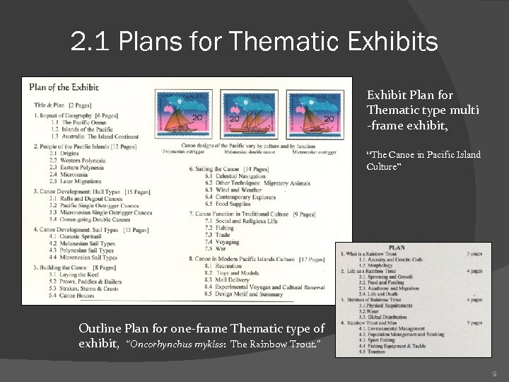 2. 1 Plans for Thematic Exhibits Exhibit Plan for Thematic type multi -frame exhibit,
