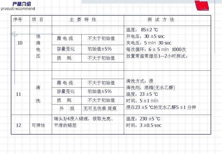 序号 项 目 10 浪 涌 电 压 主 要 特 性 11 洗