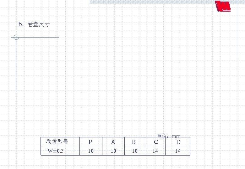 b、卷盘尺寸 单位:mm 卷盘型号 W± 0. 3 P A 10 10 B 10 C D