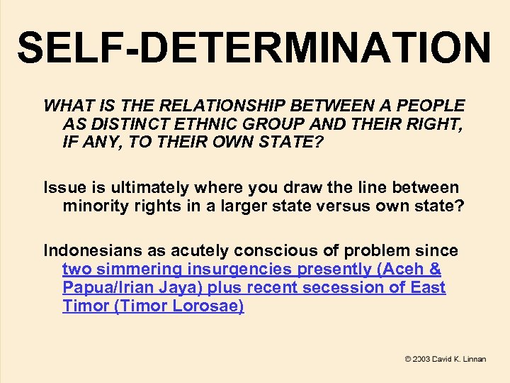 SELF-DETERMINATION WHAT IS THE RELATIONSHIP BETWEEN A PEOPLE AS DISTINCT ETHNIC GROUP AND THEIR