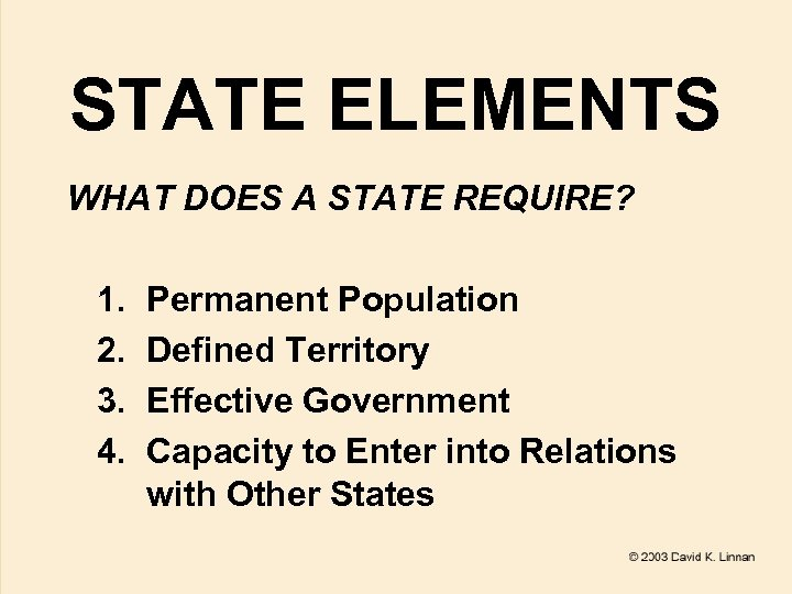 STATE ELEMENTS WHAT DOES A STATE REQUIRE? 1. 2. 3. 4. Permanent Population Defined