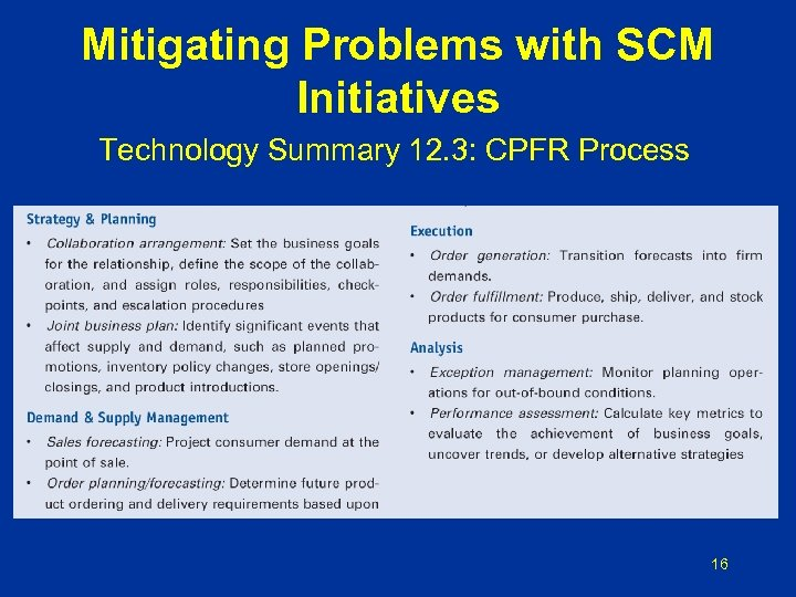 Mitigating Problems with SCM Initiatives Technology Summary 12. 3: CPFR Process 16