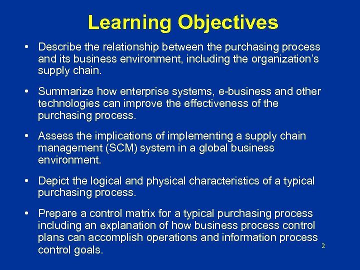 Learning Objectives • Describe the relationship between the purchasing process and its business environment,
