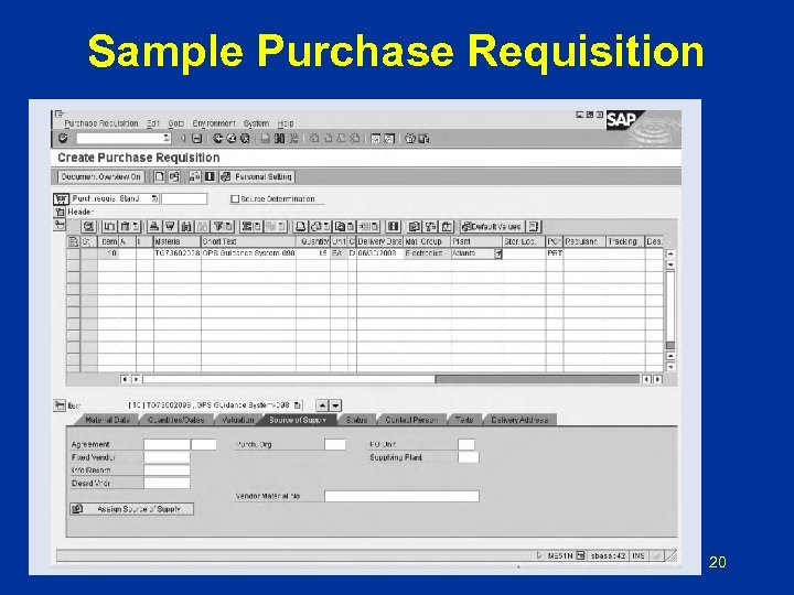 Sample Purchase Requisition 20