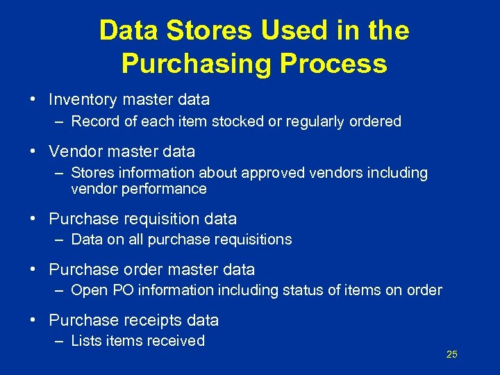 Data Stores Used in the Purchasing Process • Inventory master data – Record of