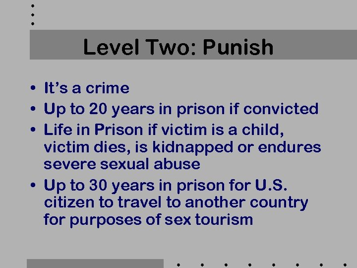 Level Two: Punish • It's a crime • Up to 20 years in prison